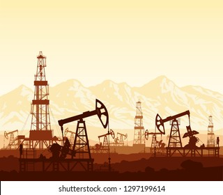 Oil pumps and drilling rigs silhouettes at large oilfield on huge mountain range background at sunset. Crude oil extraction process. Vector industrial landscape in brown and yellow colours.