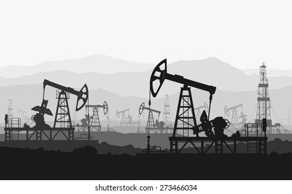 Oil pumps at large oilfield over mountain range. Detail vector illustration