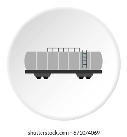 Oil railway tank icon in flat circle isolated vector illustration for web