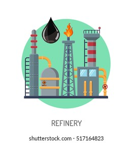 Oil refinery Flat Icons Concept with oil drop and circle isolated vector illustration.