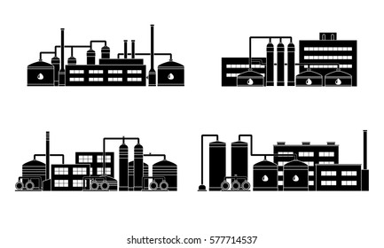 Oil refinery industry building. Set of petrochemical factories. Vector illustration.