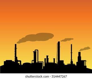 Oil refinery industry silhouette in daytime landscape style