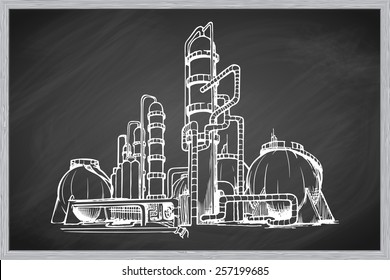 Oil refinery plant. EPS10 vector illustration in a sketchy style imitating scribbling on the blackboard.