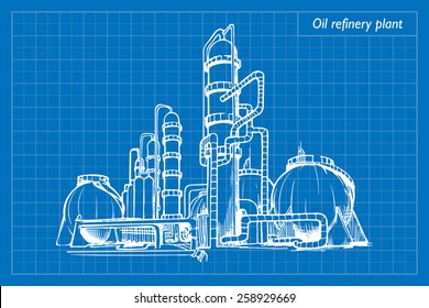 Oil refinery plant. EPS10 vector illustration imitating blueprint style scribbling with white marker.