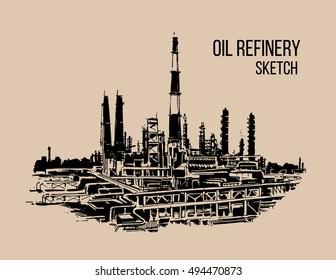 oil refinery sketch illustraton