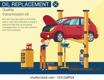 Oil Replacement. Quality Transmission Oil. Oil Change in Car. Service Station. Auto Service. Car on Overpass. Yellow Background and Text. Worker Looks Under Bottom Vehicle. Vector Illustration.