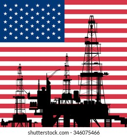 oil rig with the background of an American flag