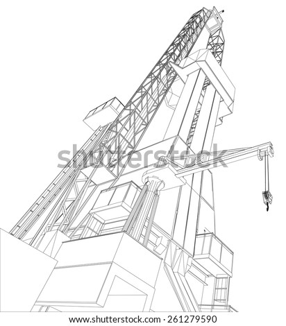 Oil Rig Detailed Vector Illustration Isolated Stock Vector Royalty