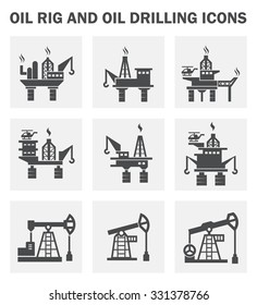 Oil rig icon or offshore drilling rig icon also called oil platform, offshore platform. Crane and hook included for well drilling to explore, extract, store, and process petroleum and natural gas.