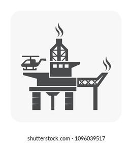 Oil rig icon on white background.