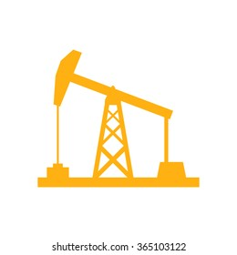 Oil rig icon on white background, orange color, vector illustration
