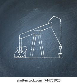 Oil rig icon sketch on chalkboard. Exploration and oil production symbol - chalk drawing on blackboard.