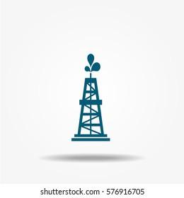 Oil rig icon, vector symbol