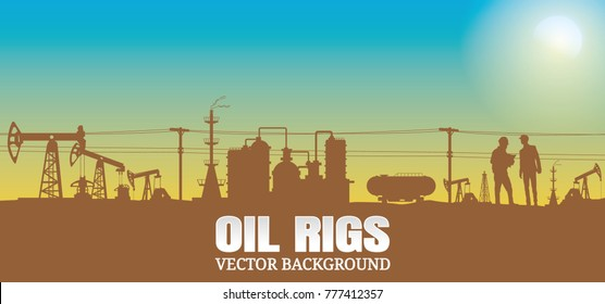 Oil rig industry silhouettes  background,Vector illustration.