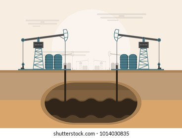 Oil rig. Oil platform, gas fuel, industry offshore, drill technology on a desert, vector illustration flat style