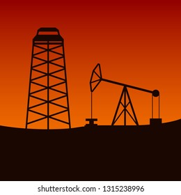 Oil rig and pumpjack in desert. Vector illustration.