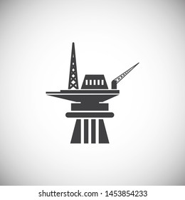 Oil rig related icon on background for graphic and web design. Simple illustration. Internet concept symbol for website button or mobile app.