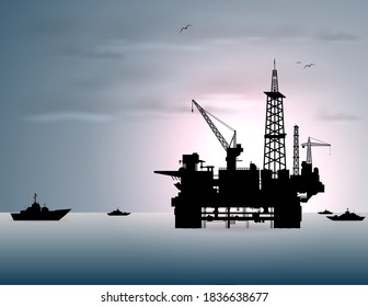Oil rig and ships in the sea. (vector)