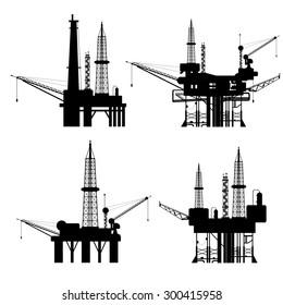 Oil rig silhouette set 4 in 1 on white background for artwork design