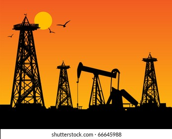 Oil rig silhouettes and orange sky, vector illustration
