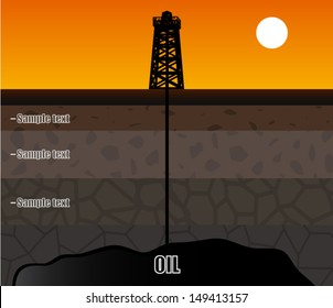 oil rig with soil layers / vector illustration