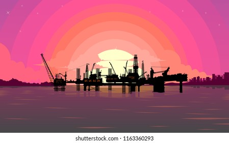 oil rig sunset view