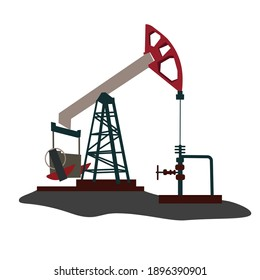 Oil rig vector stock illustration. Oil pumps, drilling derricks from oil field silhouette. Crude oil industry, background with pump jacks, drill rigs. Isolated on a white background