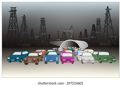 Oil Rigs And Cars.