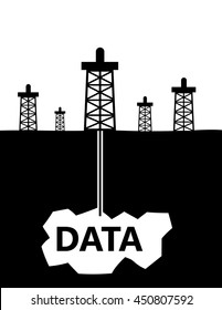 Oil rigs in a landscape drilling down into the earth to pockets of data as a metaphor for data mining for business