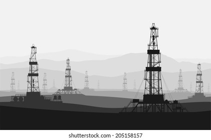 Oil rigs at large oilfield over mountain range. Detailed vector illustration.