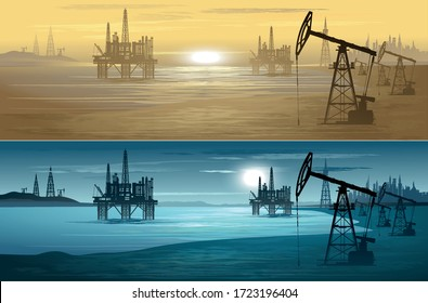 Oil rigs. Oil production. Vector