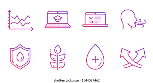 Oil serum, Diagram chart and Web lectures line icons set. Gluten free, Blood donation and Website education signs. Breathing exercise, Intersection arrows symbols. Gradient oil serum icon. Vector