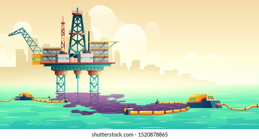 Oil spill accident on sea drilling rig platform cartoon vector illustration. Filters cleaning up oil stains on water surface. Technogenic catastrophe, ecological, environmental disaster liquidation