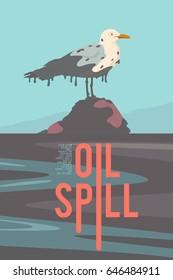 Oil spill. Vector retro poster.