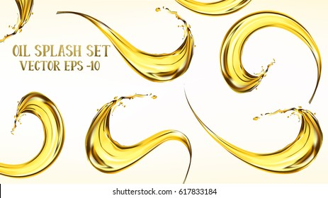 Oil splashing isolated on white background. Vector illustration set.
