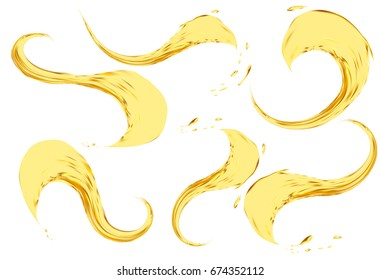Oil splashing isolated on white background. Vector 3d illustration set. Realistic yellow liquid with drops.