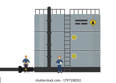 Oil storage tank. Steel container with pipe and ladder. Oilman worker turns pipeline valve, engineer controls the work. Oil industry, workers in special clothing and helmets. Flat vector illustration