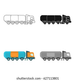 Oil tank trucker icon in cartoon style isolated on white background. Oil industry symbol stock vector illustration.
