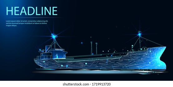 Oil tanker Aframax.. Transportation, import-export and logistics concept. Shipping port with cranes and container ship. Low poly vector illustration. Headline