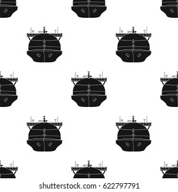 Oil tanker icon in black style isolated on white background. Oil industry pattern stock vector illustration.