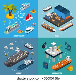 Oil tanker and luxury vacation passenger liner vessels 4 isometric icons square composition poster abstract isolated vector illustration