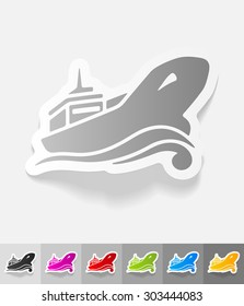 oil tanker paper sticker with shadow. Vector illustration