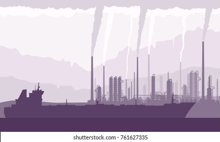 Oil tanker and refinery or chemical plant with smoking chimneys. Crude oil transportation, processing and refining. Vector illustration.