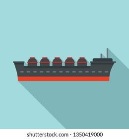 Oil tanker ship icon. Flat illustration of oil tanker ship vector icon for web design
