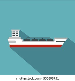 Oil tanker ship icon. Flat illustration of oil tanker ship vector icon for web isolated on baby blue background