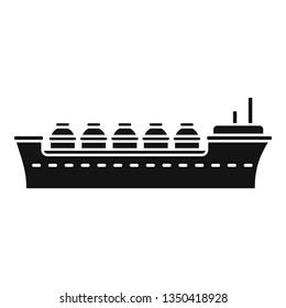 Oil tanker ship icon. Simple illustration of oil tanker ship vector icon for web design isolated on white background
