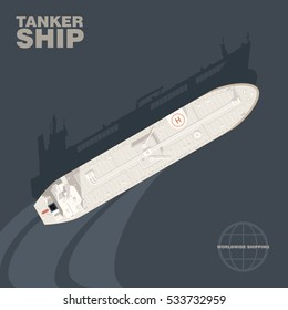 Oil tanker ship in the sea with cast shadow silhouette, aerial view. Detailed vector illustration of a deck of Industrial cargo vessel for transportation of crude oil, realistic style.