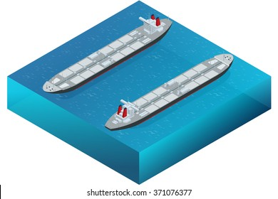 Oil tanker ship transportation. Flat 3d isometric vector illustration. For infographics and design games.