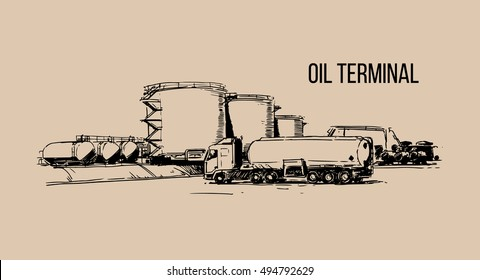 Oil terminal hand drawn sketch