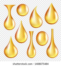 Oil transparent drops. Yellow liquid golden oil vector realistic collection of splashes. Transparent oil liquid, golden drop realistic isolated illustration